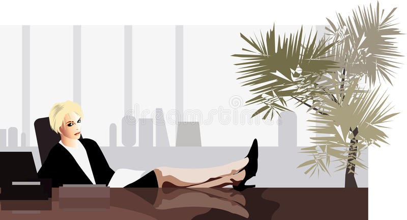 Download Bedrijfs vrouw bij bureau vector illustratie. Illustratie bestaande uit strategie - 10783288