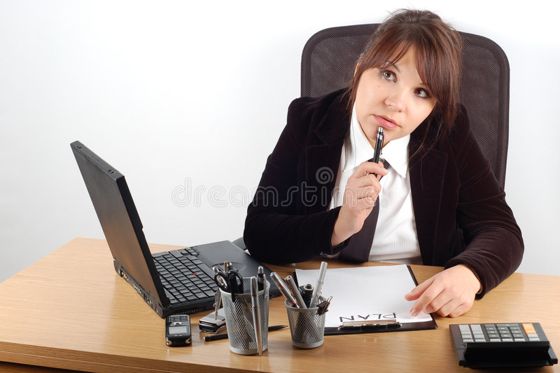 Bedrijfs vrouw bij bureau #11 stock foto's