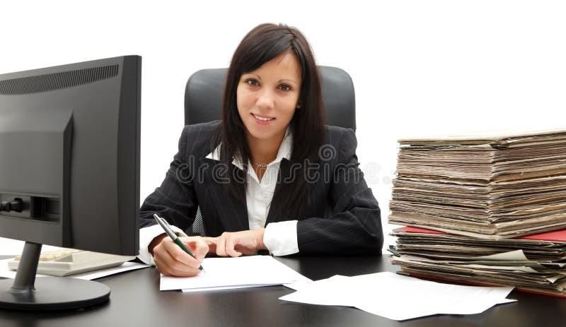 Bedrijfs vrouw bij bureau stock afbeeldingen
