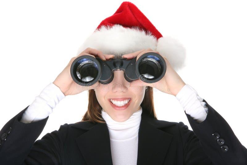 Bedrijfs Vrouw bij Kerstmis stock foto
