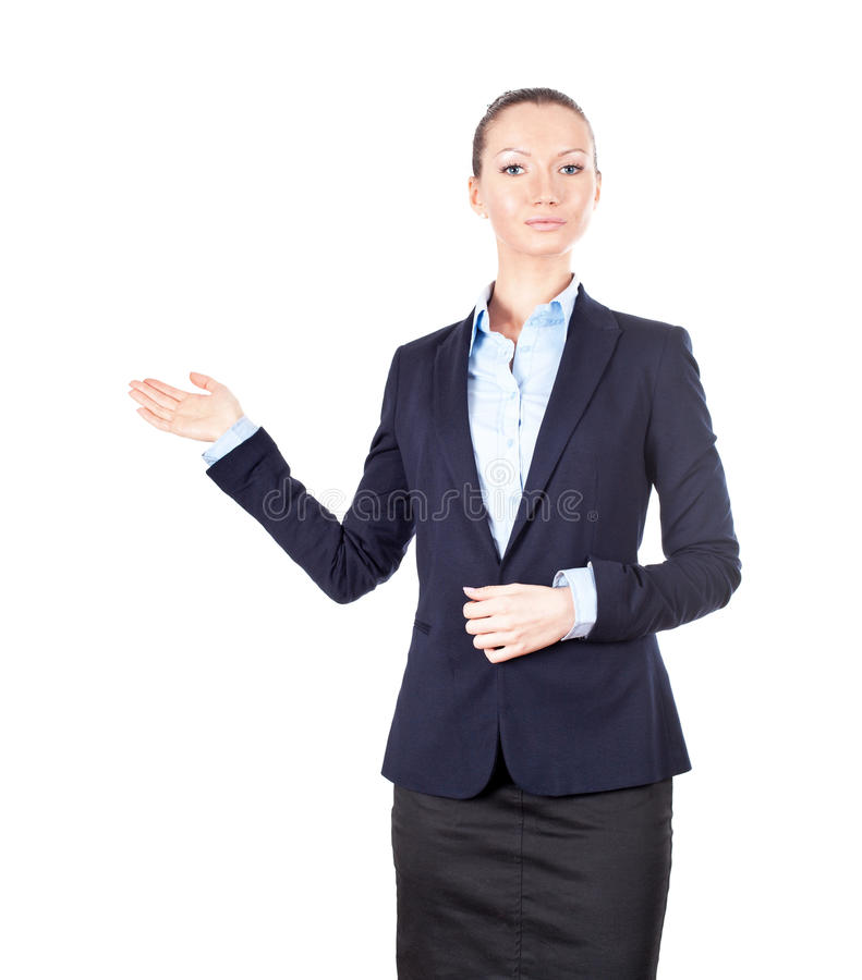 Bedrijfs vrouw die iets toont royalty-vrije stock fotografie