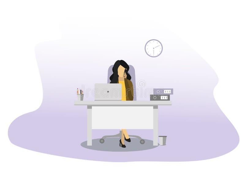 Bedrijfs vrouw die op de telefoon spreekt Pen, horloge, notitieboekje stock illustratie