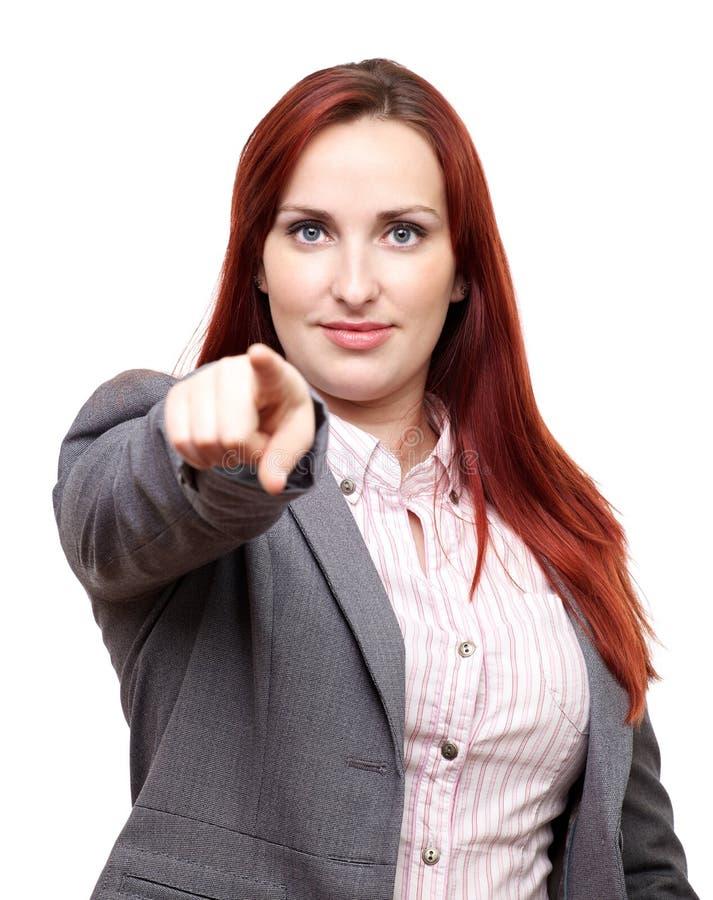 Bedrijfs vrouw die op u richten royalty-vrije stock afbeelding