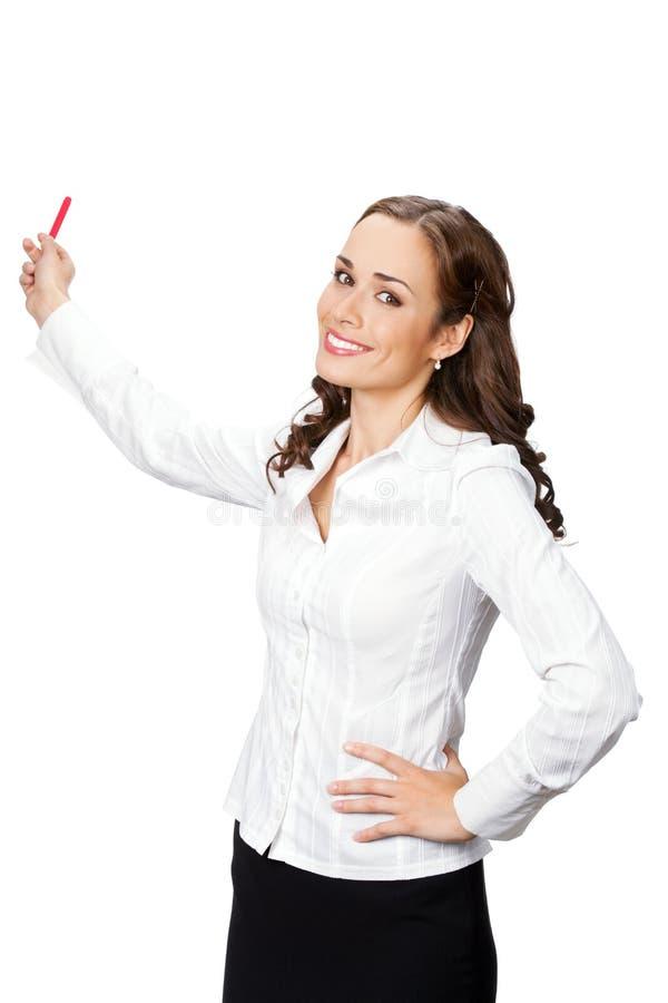 Bedrijfs vrouw die, op wit toont stock foto's