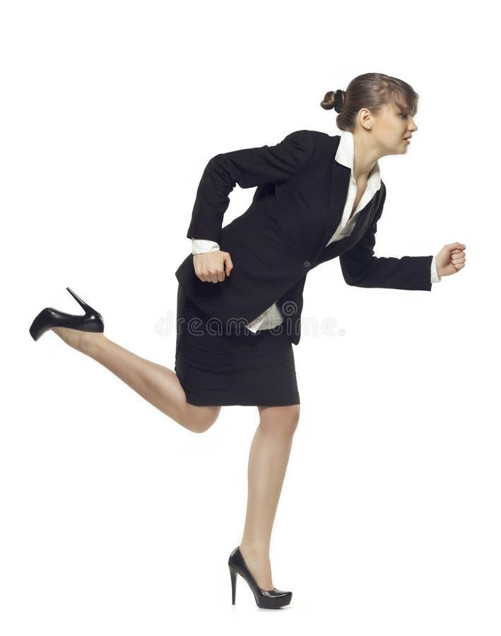 Bedrijfs Vrouw die op Witte Achtergrond wordt geïsoleerdl stock foto