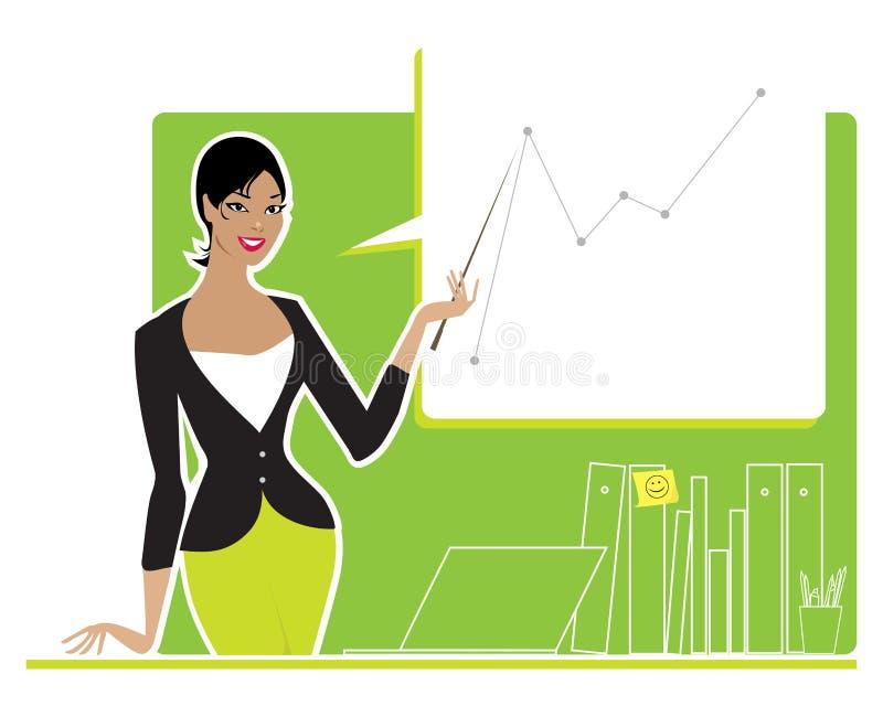 Bedrijfs vrouw die verslag uitbrengt royalty-vrije illustratie