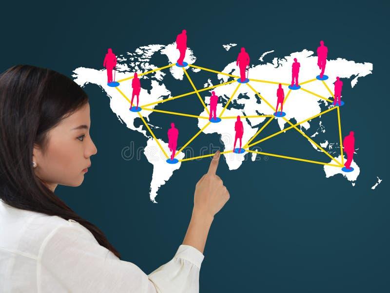 Bedrijfs vrouw en sociaal netwerk stock afbeeldingen