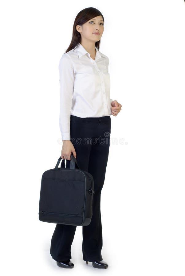Bedrijfs vrouw met aktentas stock foto's