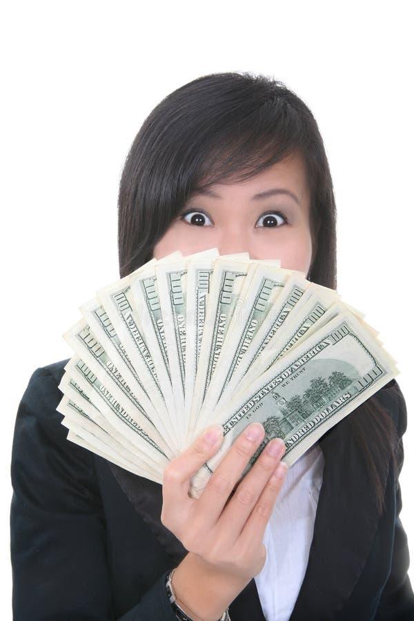 Bedrijfs Vrouw met Geld royalty-vrije stock afbeelding