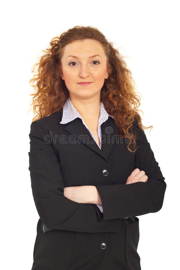 Bedrijfs vrouw met gevouwen wapens stock fotografie