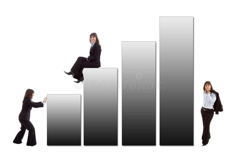 Bedrijfs vrouw met grafisch royalty-vrije stock afbeeldingen