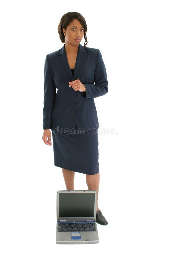 Bedrijfs Vrouw met Laptop stock afbeelding