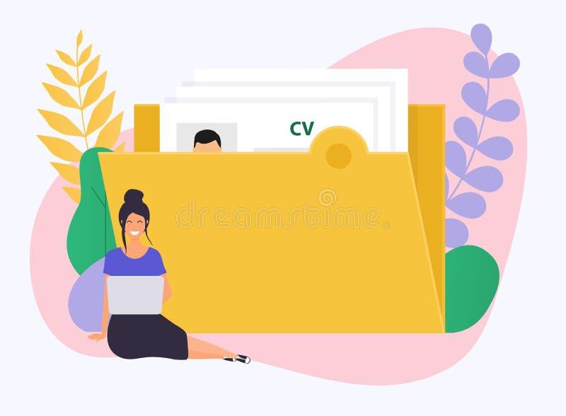 Bedrijfs Vrouw met laptop Cv hervat Het concept van het baangesprek stock illustratie