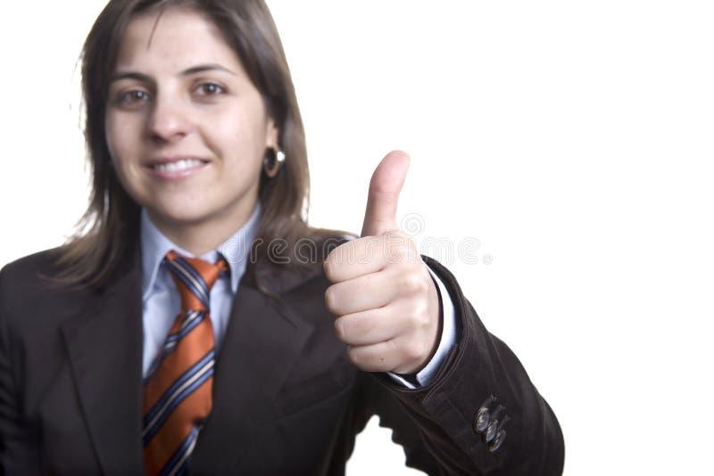 Bedrijfs vrouw met omhoog duimen royalty-vrije stock afbeeldingen