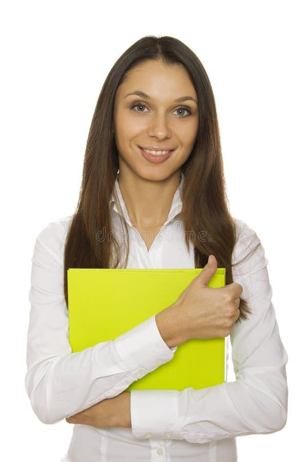 Bedrijfs vrouw met omslag stock afbeelding