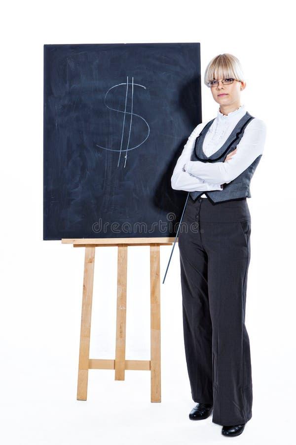 Download Bedrijfs Vrouw Met Schoolbord Stock Foto - Afbeelding bestaande uit glazen, klappen: 29501050