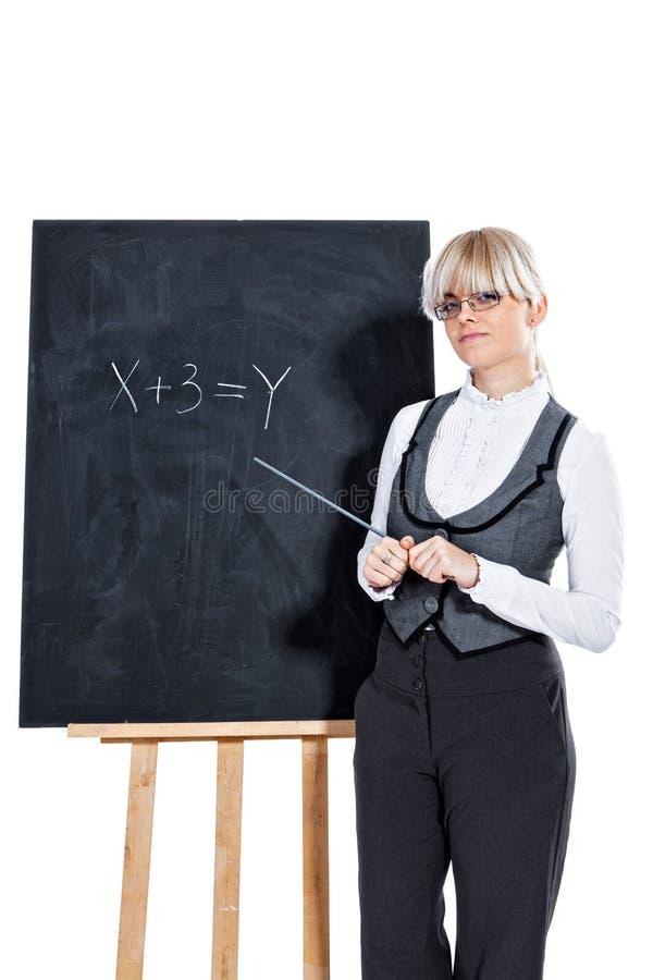 Download Bedrijfs Vrouw Met Schoolbord Stock Afbeelding - Afbeelding bestaande uit geïsoleerd, manager: 29501091