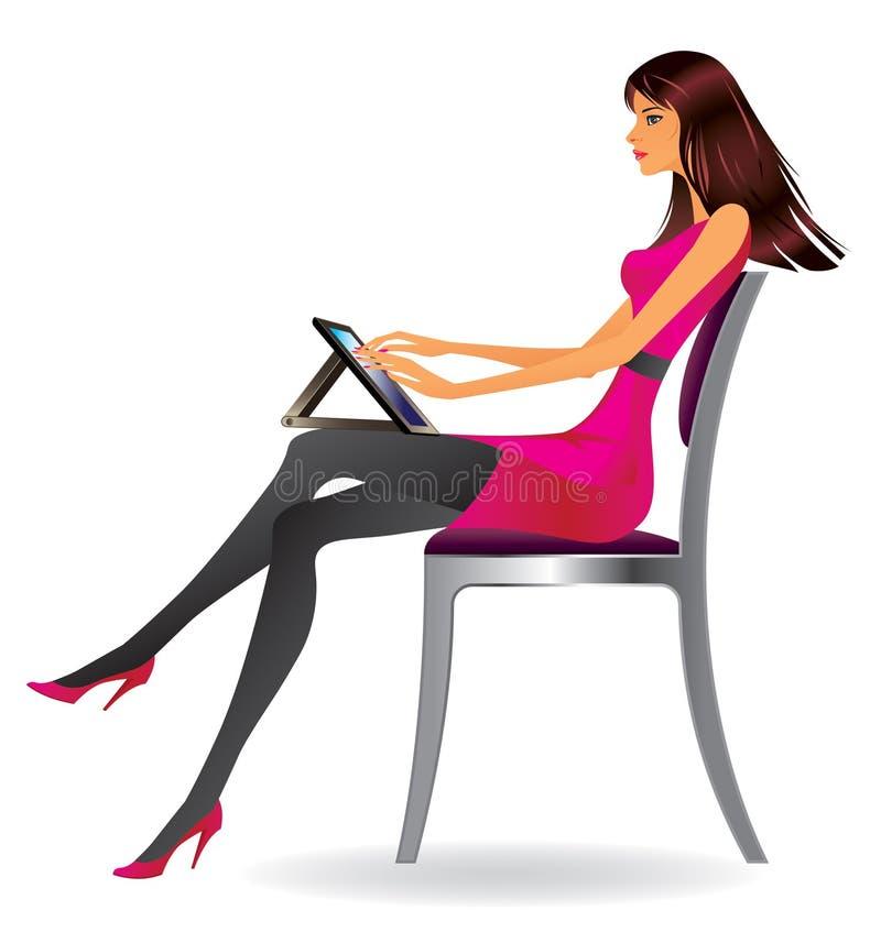 Bedrijfs vrouw met tablet royalty-vrije illustratie