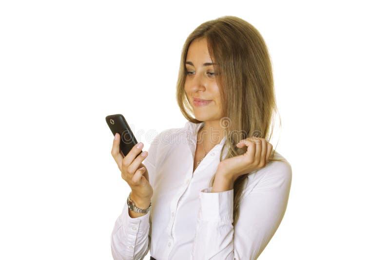 Bedrijfs vrouw met telefoon royalty-vrije stock foto
