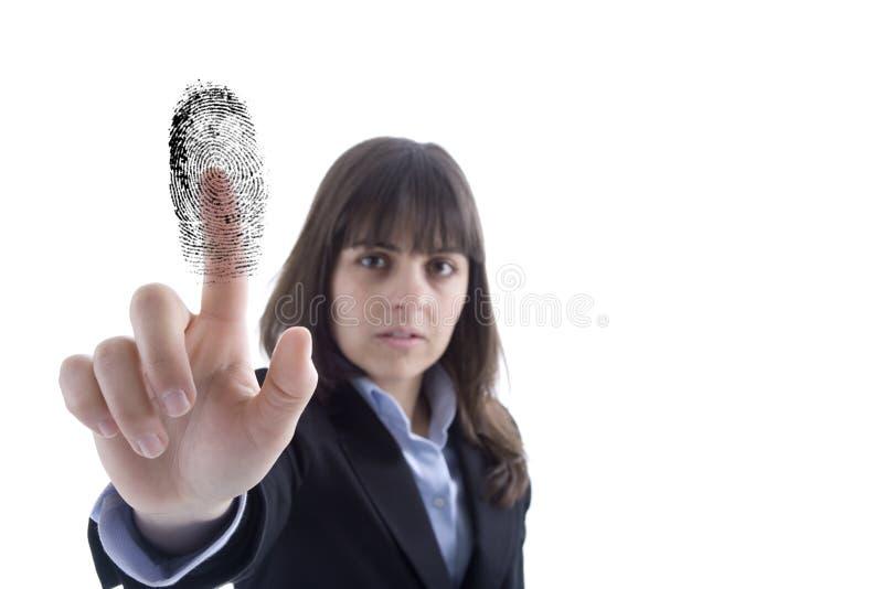 Bedrijfs vrouw met vingerafdruk stock fotografie