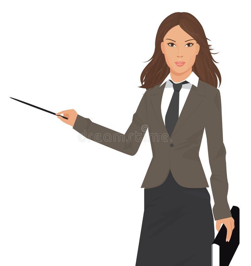 Bedrijfs vrouw met wijzer stock illustratie