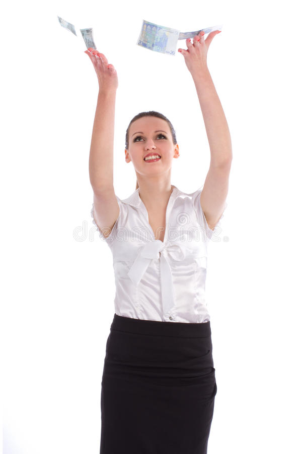 Bedrijfs vrouw onder een geldregen stock foto