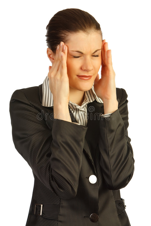 Bedrijfs vrouw onder spanning. Geïsoleerdb op wit stock afbeeldingen