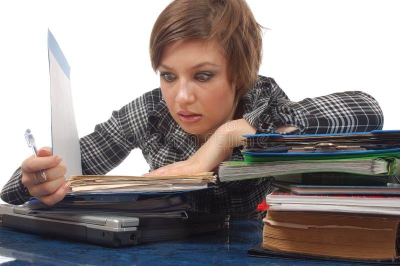 Bedrijfs vrouw in paniek stock fotografie