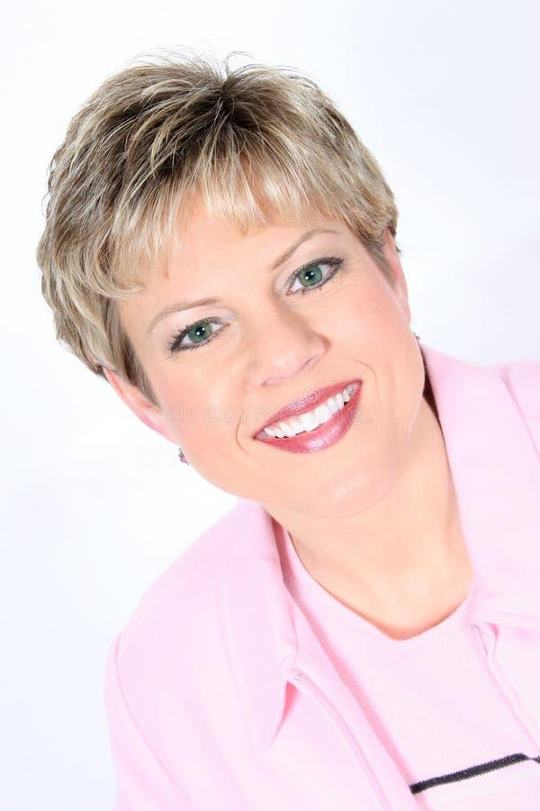Bedrijfs Vrouw in Roze stock foto's