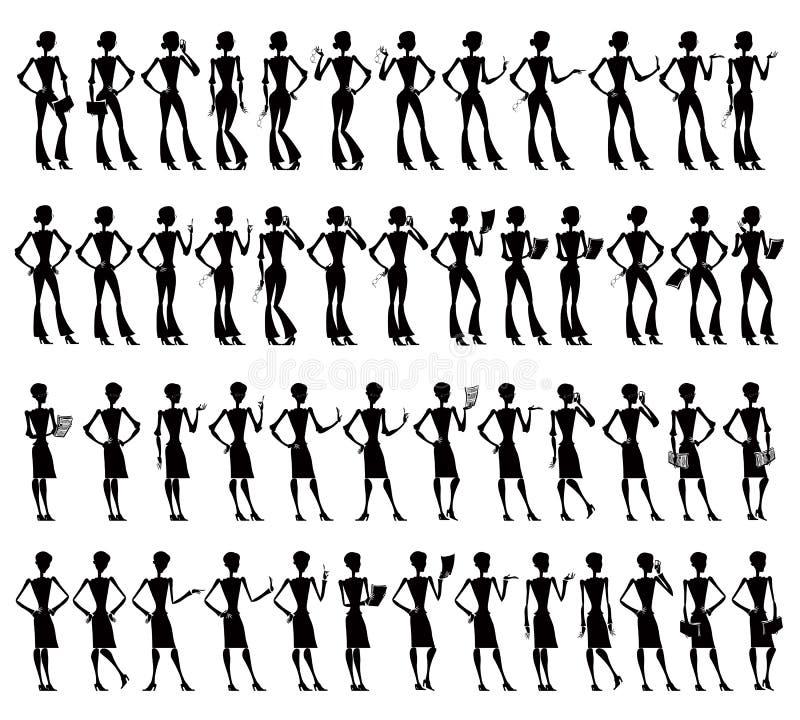 Bedrijfs vrouwen grote reeks silhouetten. royalty-vrije illustratie