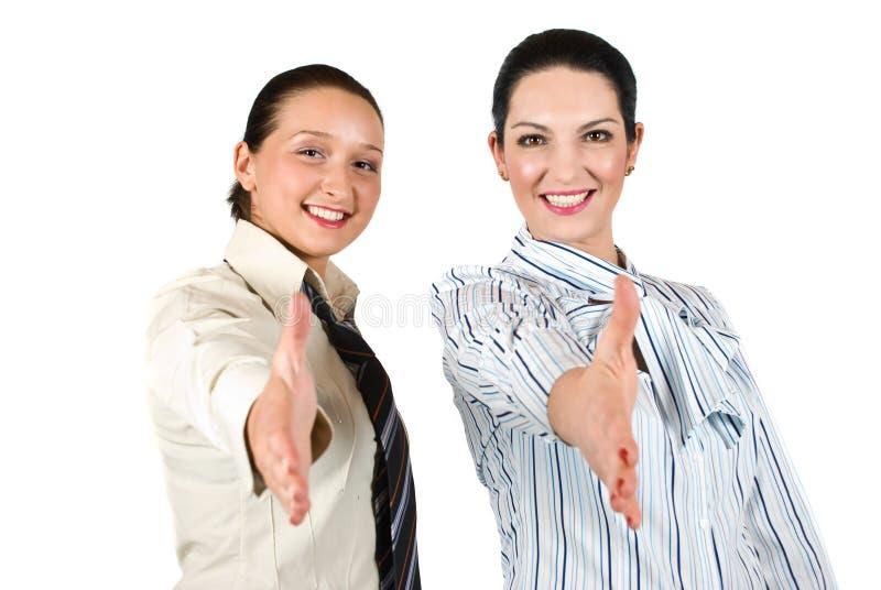 Bedrijfs vrouwenhanddruk royalty-vrije stock fotografie