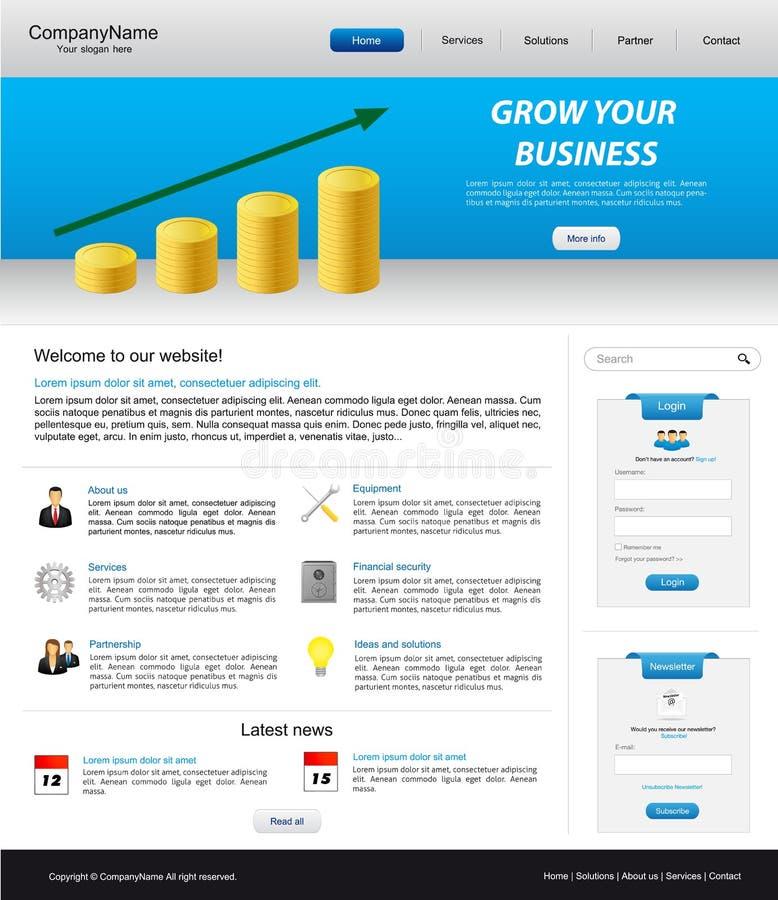 Bedrijfs websitemalplaatje stock illustratie