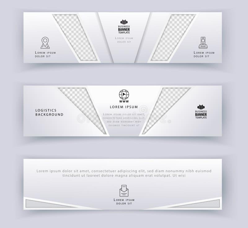 Bedrijfs wit bannermalplaatje, Logistiek horizontaal malplaatje Abstract van de dekkingskopbal malplaatje als achtergrond voor we vector illustratie