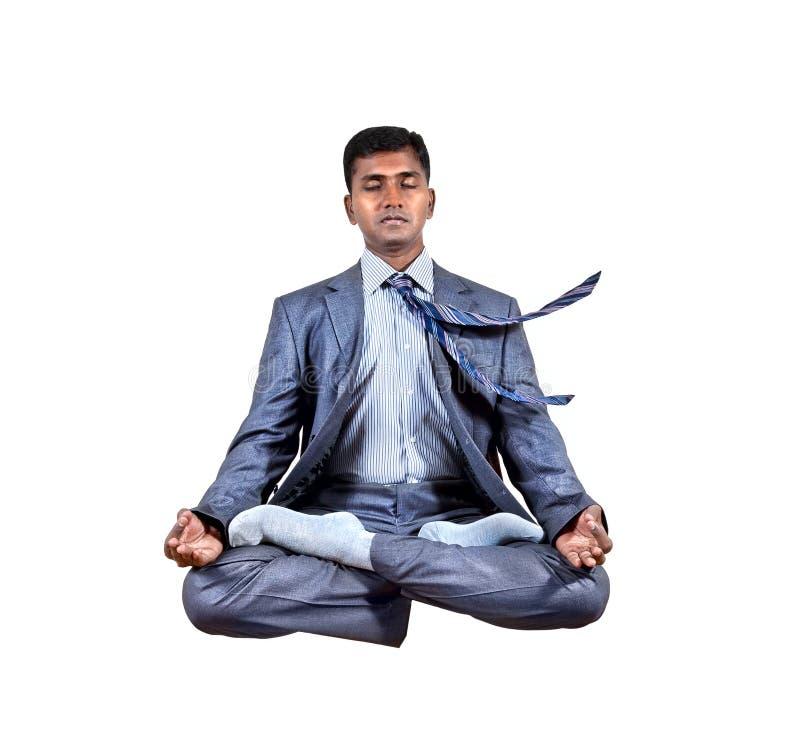 Bedrijfs yogalevitatie stock foto's