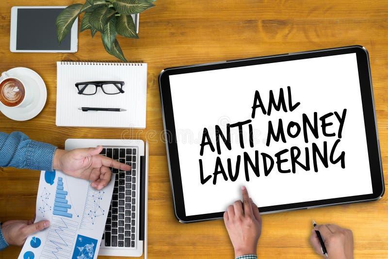 Bedrijfsacroniem AML Anti Money Laundering stock foto's