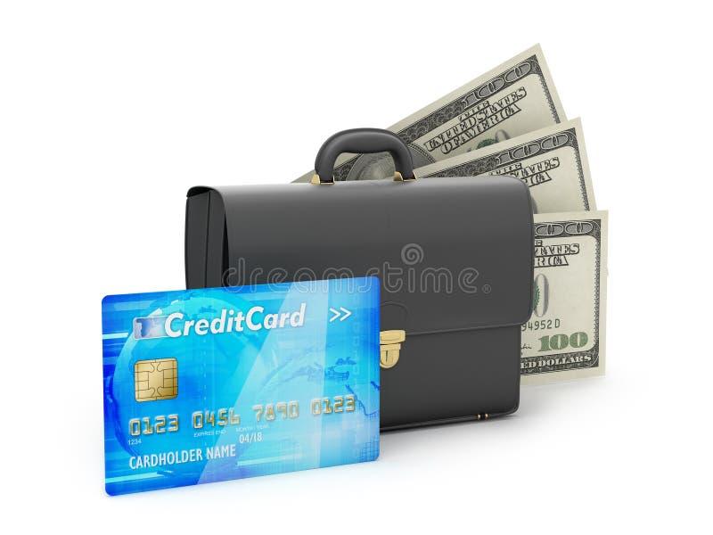 Bedrijfsaktentas, creditcard en dollarrekeningen vector illustratie