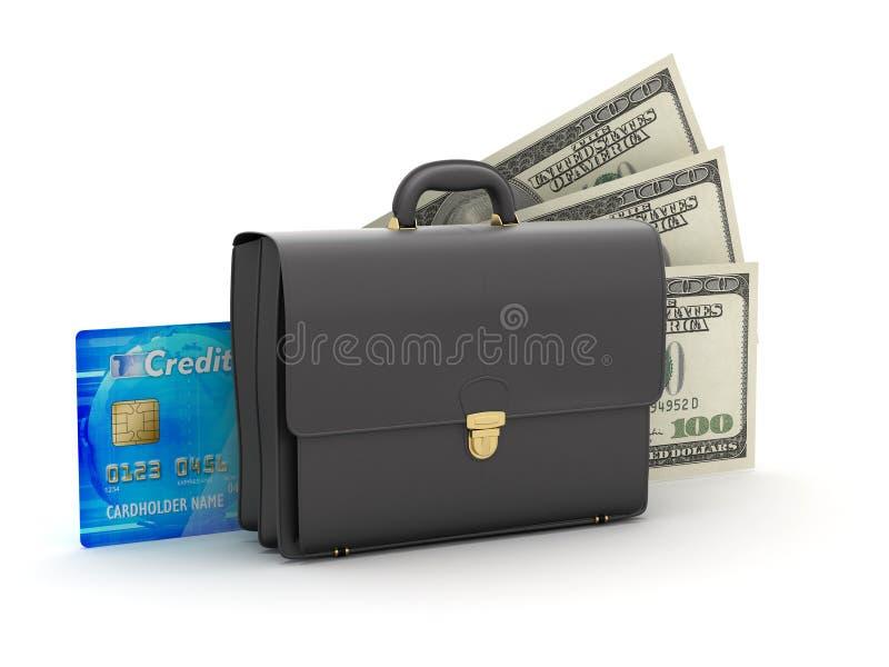 Bedrijfsaktentas, creditcard en dollarrekeningen royalty-vrije illustratie