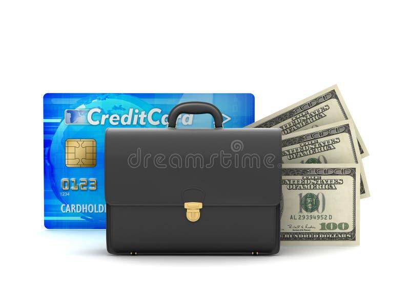 Bedrijfsaktentas, dollarrekeningen en creditcard stock illustratie