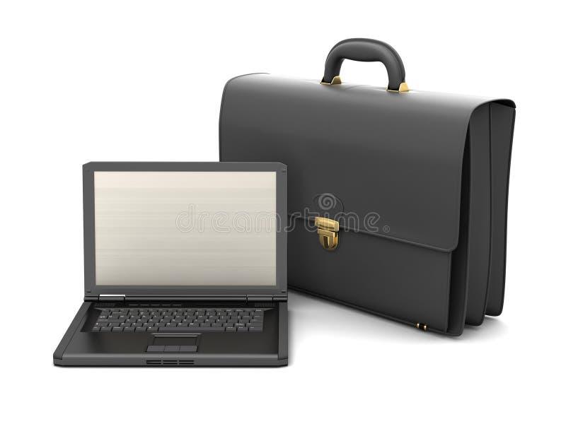 Bedrijfsaktentas en laptop stock illustratie