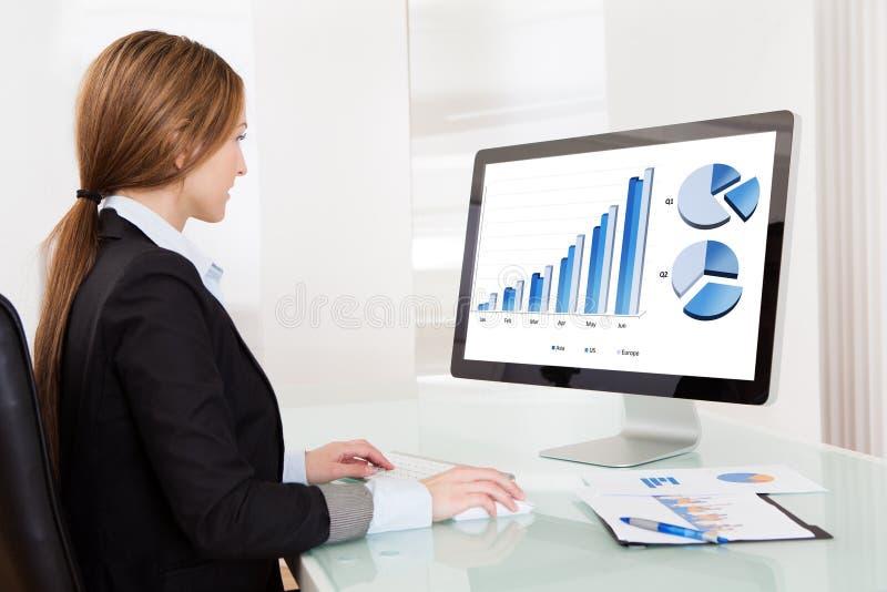 Bedrijfsanalistenvrouw die aan computer werken royalty-vrije stock afbeelding