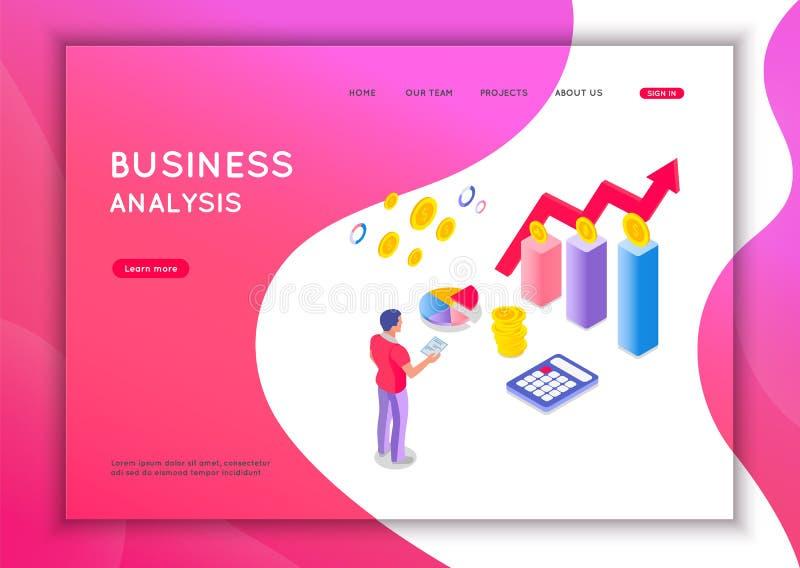Bedrijfsanalyseconcept Grafische en controledocumentatie, economische analyse financi?le begroting Vlakke isometrische vector stock illustratie