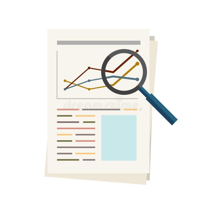 Bedrijfsanalyserapport over document met grafieken, illustratie eps 10 vector illustratie