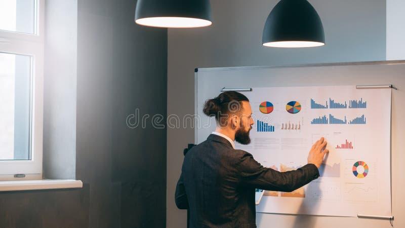 Bedrijfsanalyst die bedrijfgroeipercentages bestuderen stock fotografie