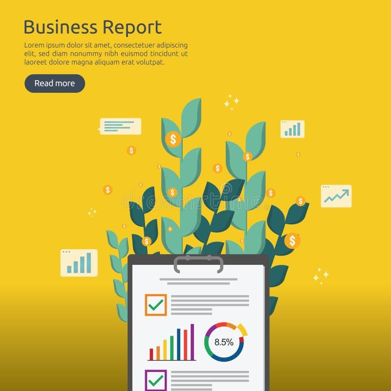 Bedrijfsanalyst of het financiële concept van het onderzoekrapport financiële boekhoudingscontrole op statistische gegevensdocume stock illustratie