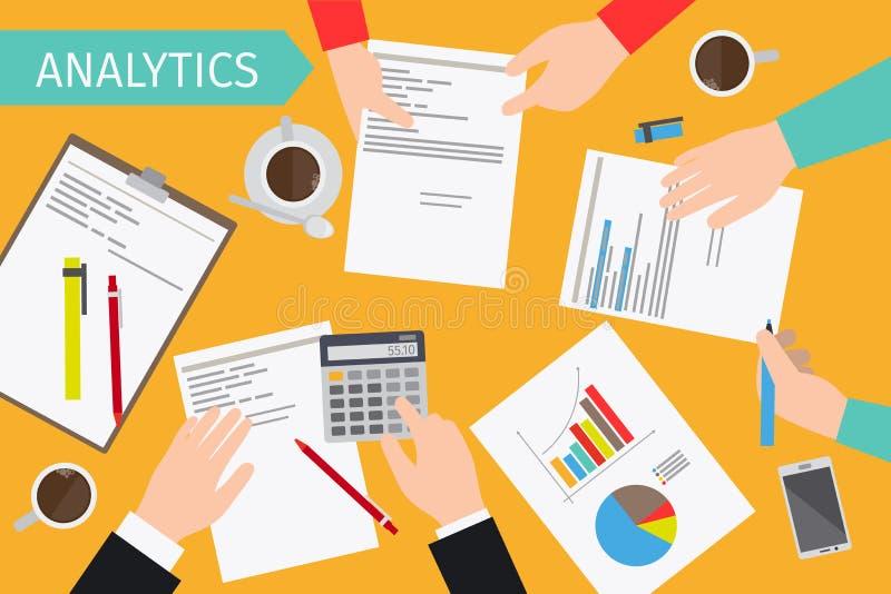 Bedrijfsanalytics en financiële controle vector illustratie