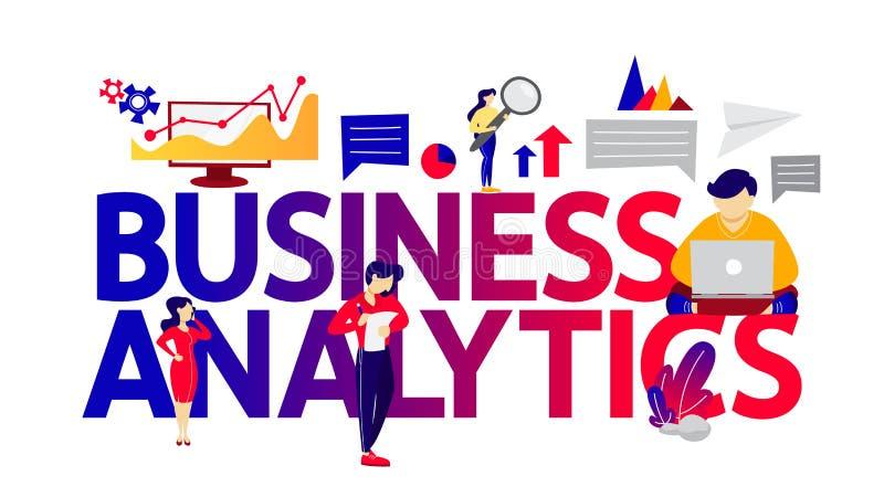 Bedrijfsanalytics en het conceptenilustration van de gegevensanalyse vector illustratie