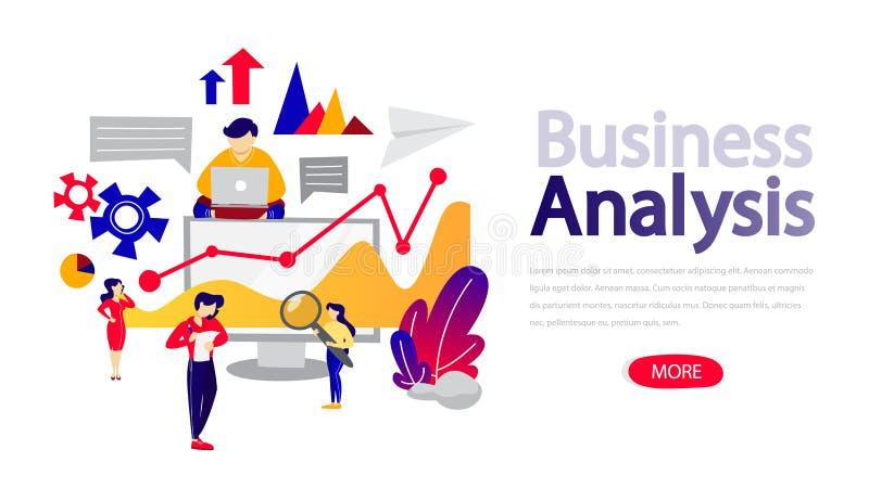 Bedrijfsanalytics en het conceptenilustration van de gegevensanalyse royalty-vrije illustratie