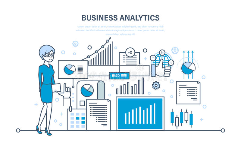 Bedrijfsanalytics, gegevensanalyse, strategiestatistiek en planning, marketing stock illustratie