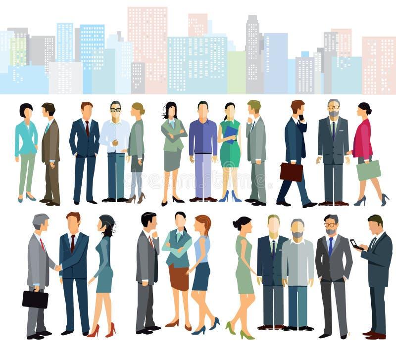 Bedrijfsarbeiders in stad vector illustratie