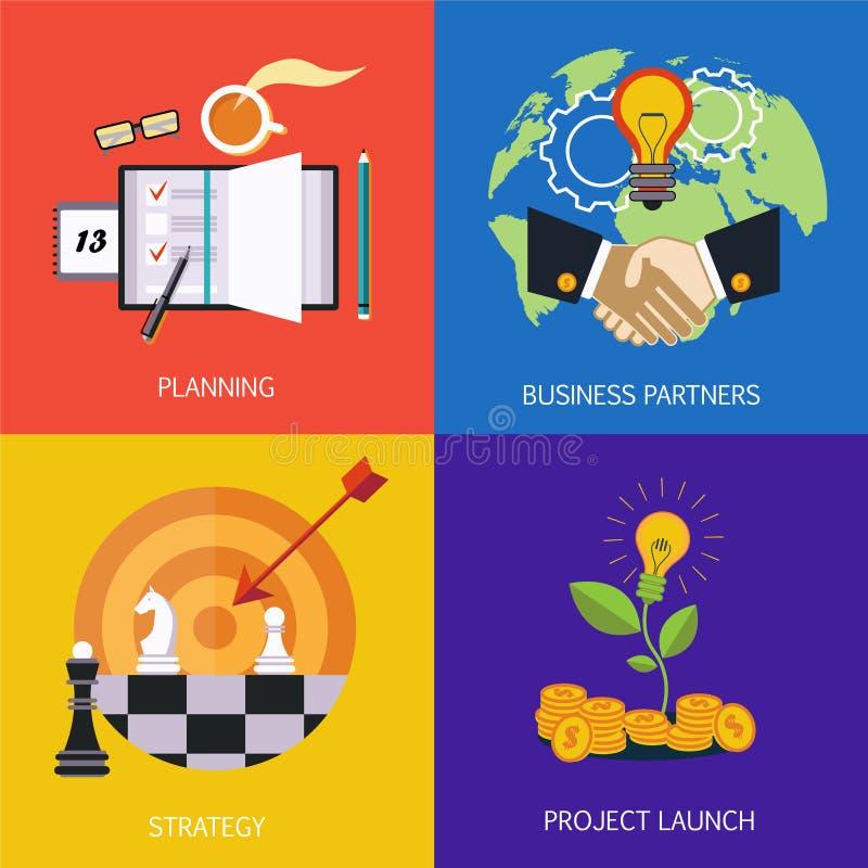 Bedrijfsbanners partners, strategie, planning en lancering van het project Vlakke vector vector illustratie
